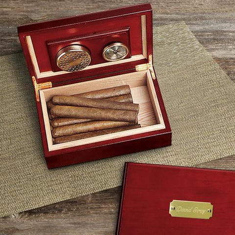 Personalized Cherry Finish Wood Humidor-Jubilee Favors