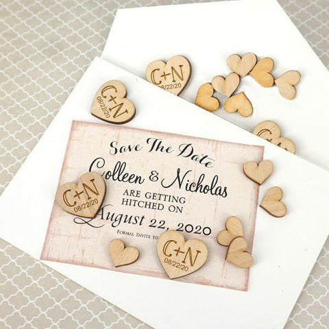 Personalized Heart Shaped Wood Confetti (Set of 150)-Jubilee Favors