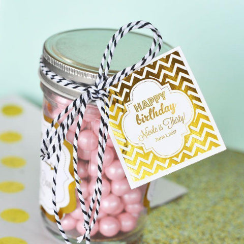 "Personalized Metallic Foil 2"" Square Favor Labels & Tags - Birthday-Jubilee Favors"
