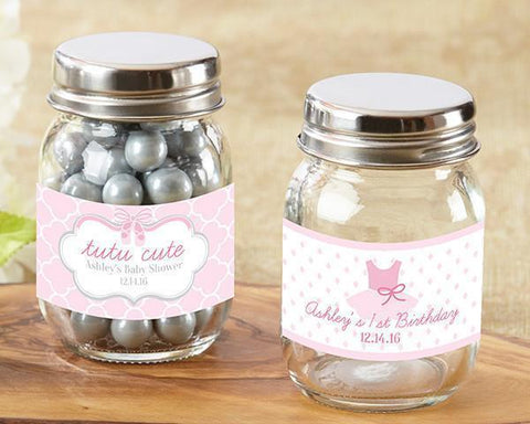 Personalized Mini Mason Jar - Tutu Cute (Set of 12)-Jubilee Favors
