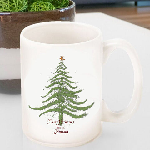 Personalized Vintage Holiday Coffee Mug - Christmas Tree-Jubilee Favors