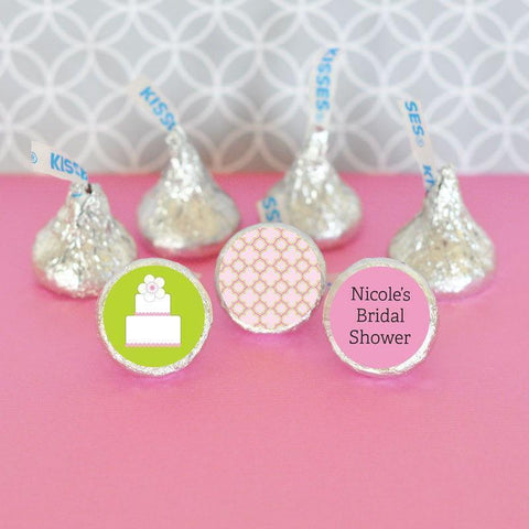 Pink Cake Personalized Hershey's® Kisses Labels Trio (Set of 108)-Jubilee Favors