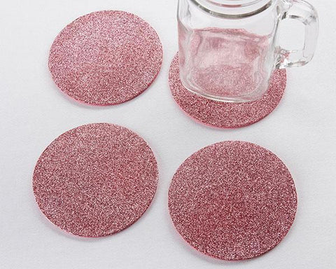 Pink Glitter Coasters (Set of 4)-Jubilee Favors