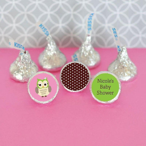 Pink Owl Personalized Hershey's® Kisses Labels Trio (Set of 108)-Jubilee Favors