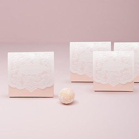 Pretty Lace Favor Box - Blush (set of 10)-Jubilee Favors