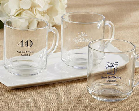 """Rise and Shine"" Glass Coffee Mug - Birthday-Jubilee Favors"