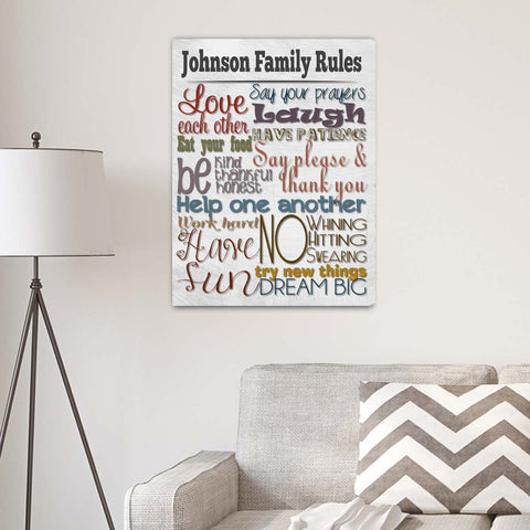 Rules of the House Canvas Print-Jubilee Favors