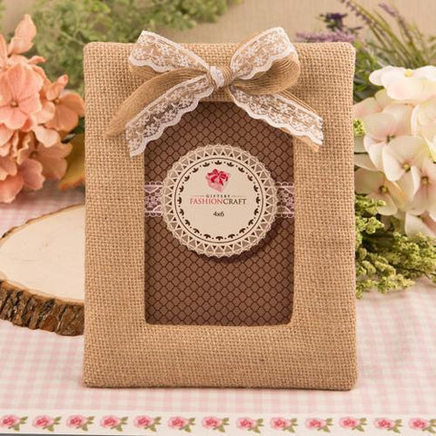Rustic Burlap Frame With Bow-Jubilee Favors