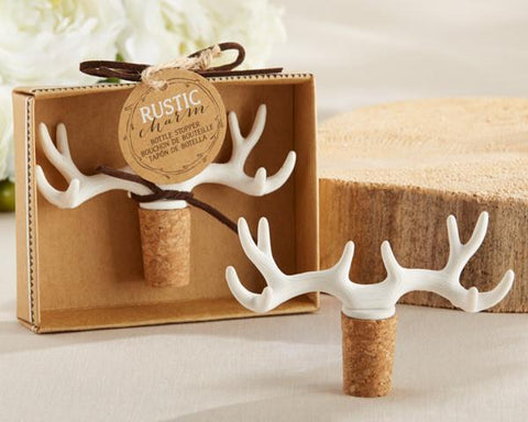 """Rustic Charm"" Antler Bottle Stopper-Jubilee Favors"