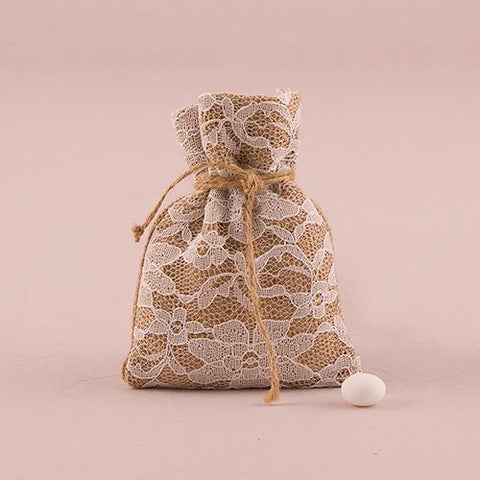 Rustic Chic Burlap And Lace Drawstring Favor Bag (set of 12)-Jubilee Favors
