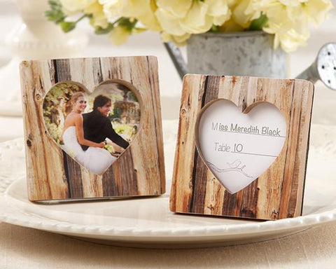 """Rustic Romance"" Faux-Wood Heart Place Card Holder/Photo Frame-Jubilee Favors"