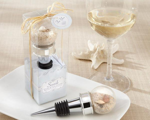 """Seaside"" Sand and Shell-Filled Globe Bottle Stopper-Jubilee Favors"