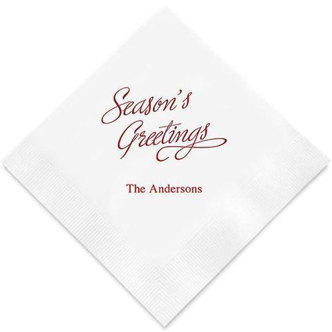 Seasons Greetings Printed Paper Napkins-Jubilee Favors