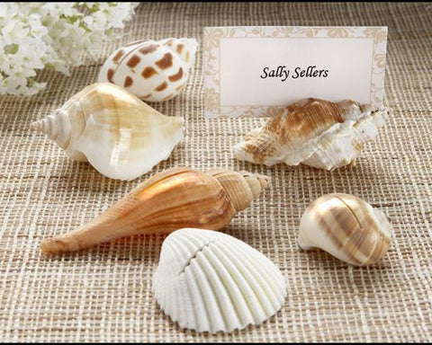 """Shells by the Sea"" Authentic Shell Place Card Holders with Matching Place Cards (Set of 6)-Jubilee Favors"