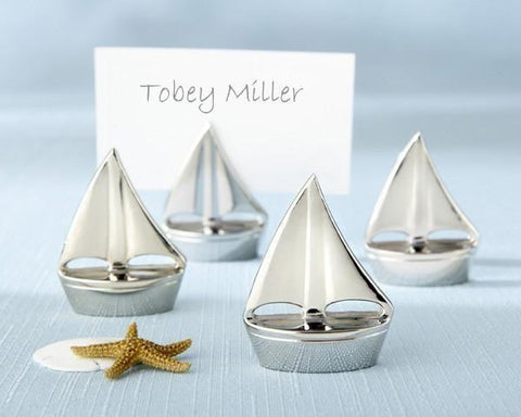 """Shining Sails"" Silver Place Card Holders (Set of Four)-Jubilee Favors"