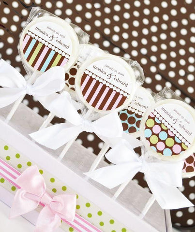 """Something Sweet"" Dots and Stripes Personalized Lollipop Favors-Jubilee Favors"