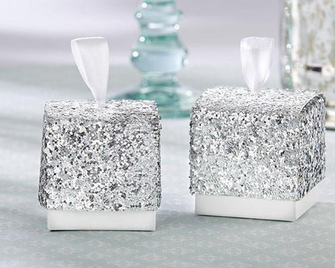 """Sparkle and Shine"" Silver Glitter Favor Box (Set of 24)-Jubilee Favors"