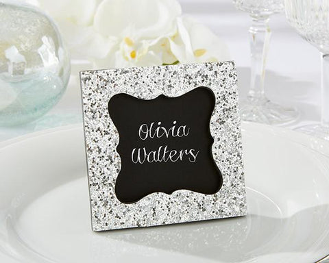 Sparkle and Shine Silver Glitter Place Card Holder Frame-Jubilee Favors