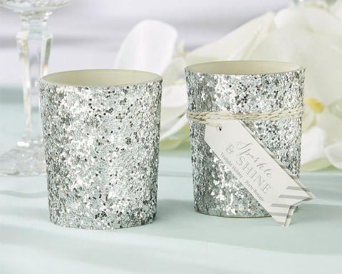 Sparkle and Shine Silver Glitter Votive (Set of 4)-Jubilee Favors