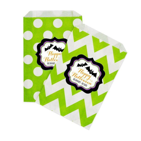 Spooky Halloween Chevron & Dots Personalized Goodie Bags-Jubilee Favors