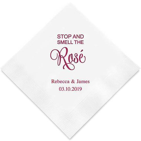 Stop And Smell The Rosé Printed Paper Napkins-Jubilee Favors