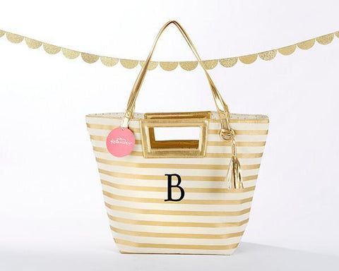 Striped Metallic Gold Tote With Tassel - Personalization Available-Jubilee Favors
