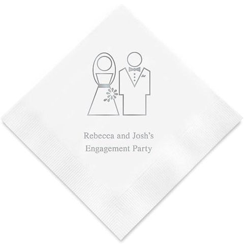 Stylized Bride And Groom Printed Paper Napkins-Jubilee Favors