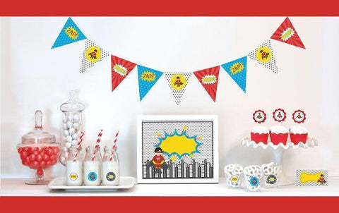 Super Hero Boy Decorations Starter Kit-Jubilee Favors