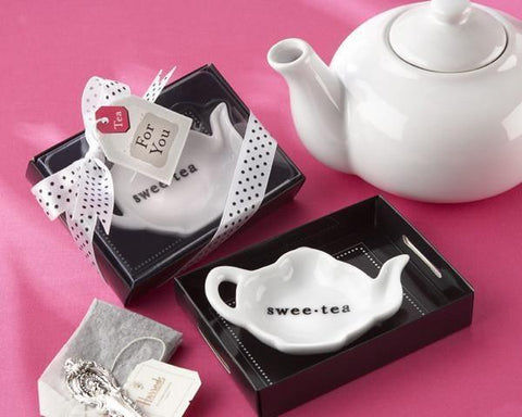"""Swee-Tea"" Ceramic Tea-Bag Caddy in Black & White Serving-Tray Gift Box-Jubilee Favors"