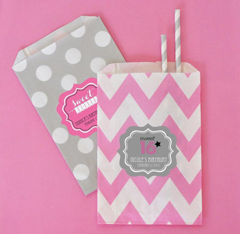 Sweet 16 or 15 Chevron & Dots Personalized Goodie Bags (set of 12)-Jubilee Favors