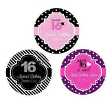 Sweet 16 (or 15) Personalized Round Favor Labels-Jubilee Favors