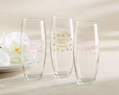 Sweet Heart Personalized Stemless Champagne Glass (Set of 36)-Jubilee Favors