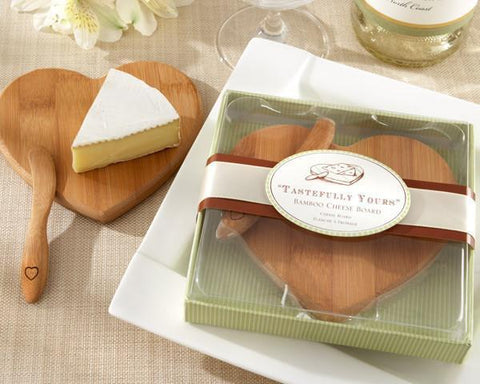 """Tastefully Yours"" Heart-Shaped Bamboo Cheese Board-Jubilee Favors"