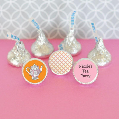 Tea Party Personalized Hershey's® Kisses Labels Trio (Set of 108)-Jubilee Favors