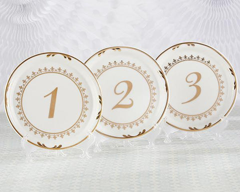 Tea Time Vintage Ceramic Plate Table Numbers-Jubilee Favors