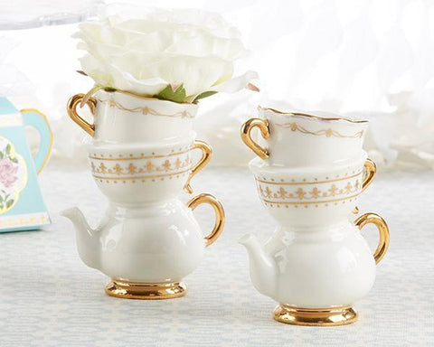 Tea Time Whimsy Ceramic Bud Vase for $ 7.99 at Jubilee Favors