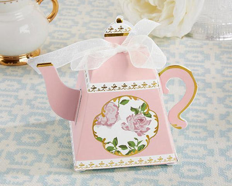Tea Time Whimsy Teapot Favor Box - Pink (Set of 24)-Jubilee Favors