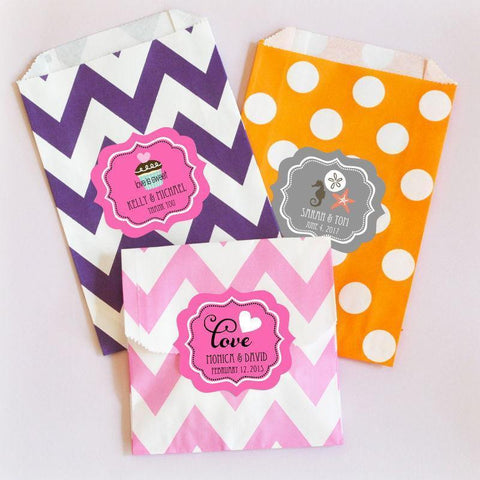 Theme Chevron & Dots Personalized Goodie Bags (set of 12)-Jubilee Favors