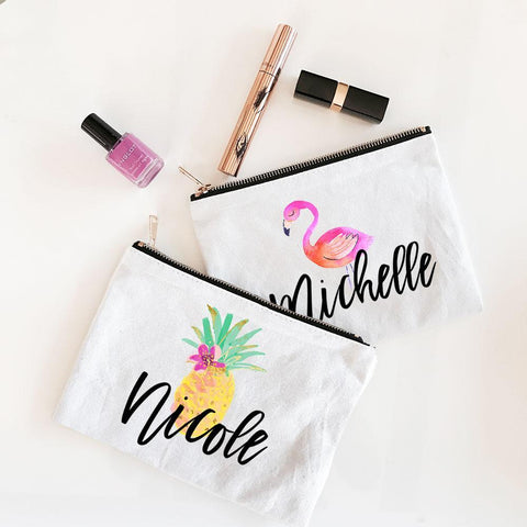 Tropical Beach Canvas Cosmetic Bag for $ 12.99 at Jubilee Favors