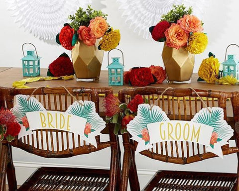 Tropical Chic Bride and Groom Chair Signs-Jubilee Favors