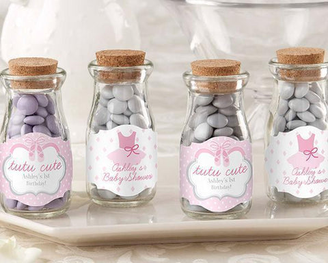 Tutu Cute - Personalized Milk Jar (Set of 12)-Jubilee Favors