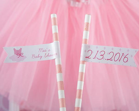 Tutu Cute Personalized Party Straw Flags-Jubilee Favors