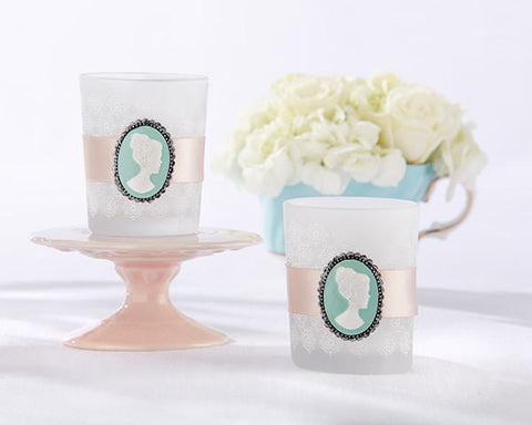 Vintage Cameo Frosted Glass Tea Light Holder (Set of 4)-Jubilee Favors