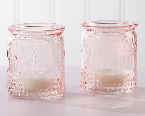 Vintage Pink Glass Tea Light Holder (Set of 4)-Jubilee Favors