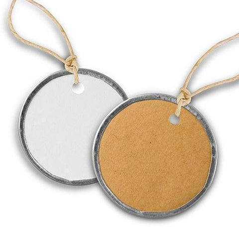 Vintage Round Metal Rim Favor Tags With Jute Ties-Jubilee Favors