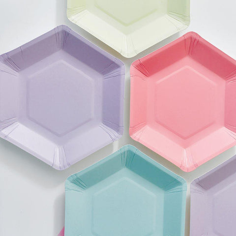 We Heart Pastel Hexagonal Plates-Jubilee Favors