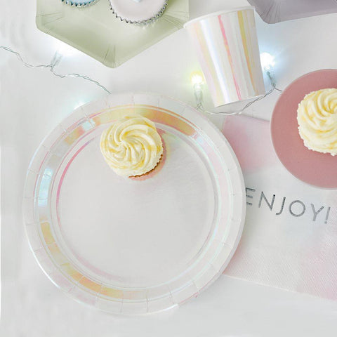 We Heart Pastel Iridescent Plates-Jubilee Favors