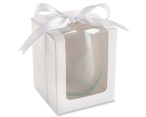 White 15 Oz Stemless Wine Gift Box Set Of 12