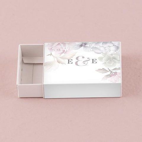 White Drawer-Style Favor Box with Floral Dreams Personalized Wrap (set of 8)-Jubilee Favors