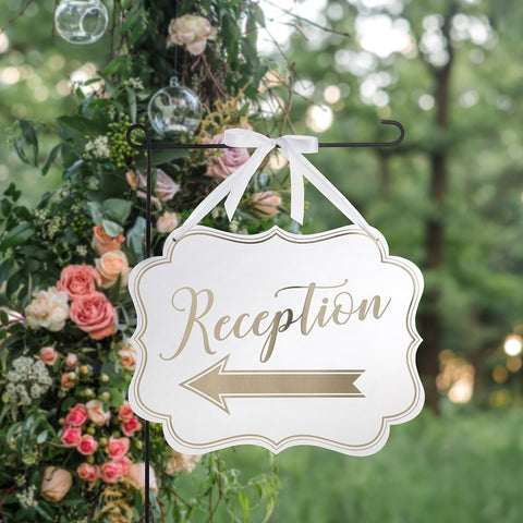 White & Gold Arrow Reception Sign-Jubilee Favors